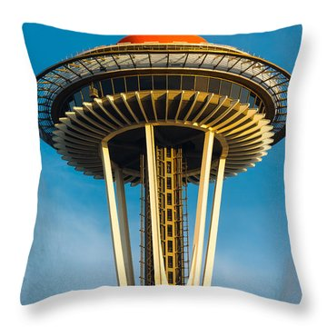 Top Of The Space Needle Throw Pillow by Inge Johnsson