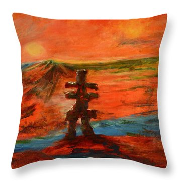 Throw Pillow featuring the painting Top Of The World by Sher Nasser