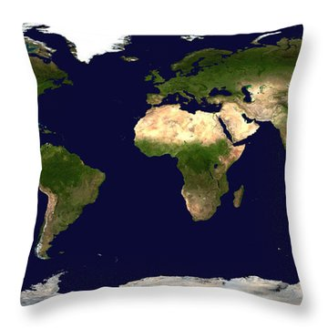 Topo Map Of The World Throw Pillow