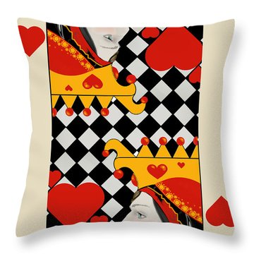 Throw Pillow featuring the painting Topsy-turvy Queen by Carol Jacobs