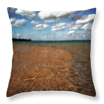Torch Lake Sandbar 2.0 Throw Pillow