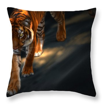 Throw Pillow featuring the digital art Torch Tiger 2 by Aaron Blaise