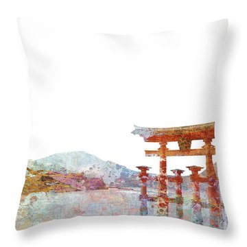 Torii Gate Colorsplash Throw Pillow