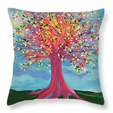 Throw Pillow featuring the painting Tori's Tree By Jrr by First Star Art