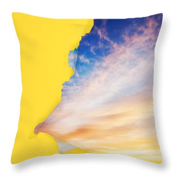 Torn Paper Sunrise Throw Pillow by Jo Ann Snover