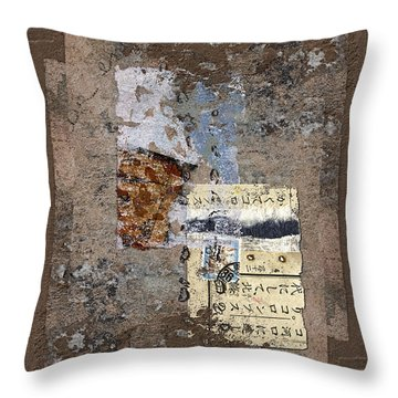 Torn Papers On Wall Throw Pillow by Carol Leigh