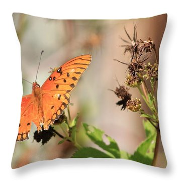Torn Wing And Dry Flowers Throw Pillow