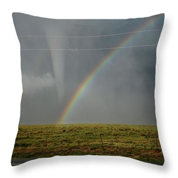 Tornado And The Rainbow Throw Pillow