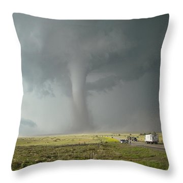 Throw Pillow featuring the photograph Tornado Truck Stop by Ed Sweeney