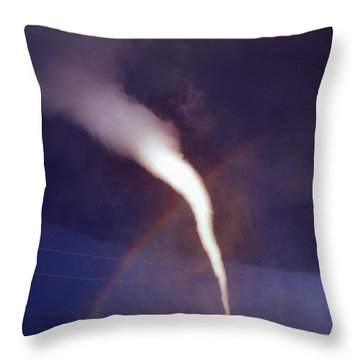 Tornado With Rainbow In Mulvane Kansas Throw Pillow by Jason Politte