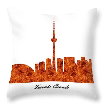 Toronto Canada Raging Fire Skyline Throw Pillow