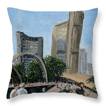 Toronto City Hall Throw Pillow by Ian  MacDonald
