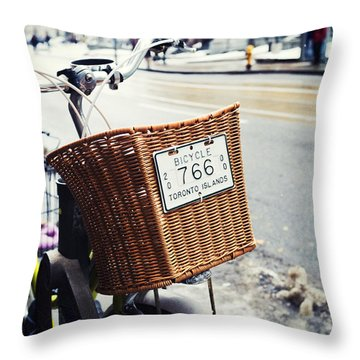 Toronto Islands Bicycle Throw Pillow by Tanya Harrison