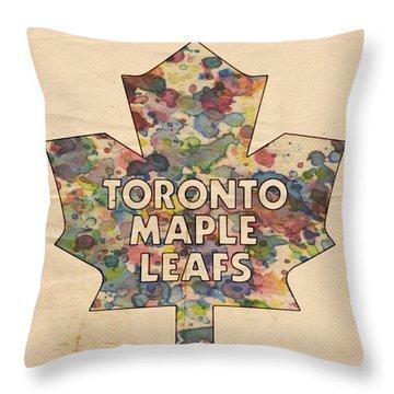 Toronto Maple Leafs Hockey Poster Throw Pillow by Florian Rodarte