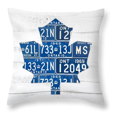 Toronto Maple Leafs Hockey Team Retro Logo Vintage Recycled Ontario Canada License Plate Art Throw Pillow