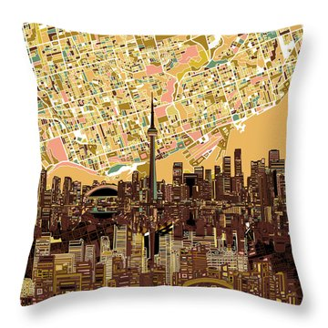 Toronto Skyline Abstract 9 Throw Pillow by Bekim Art