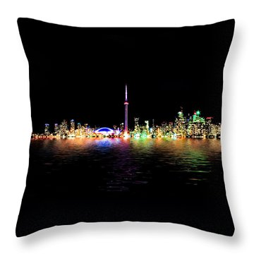 Toronto Skyline At Night From Centre Island Reflection Throw Pillow