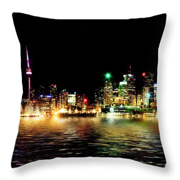 Toronto Skyline At Night From Polson St Reflection Throw Pillow by Brian Carson