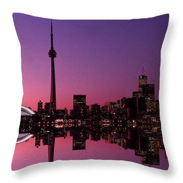 Toronto Skyline At Sunset, Toronto Throw Pillow by Alan Marsh