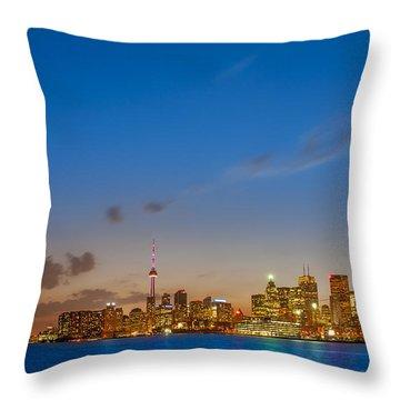 Toronto Skyline Throw Pillow by Sebastian Musial