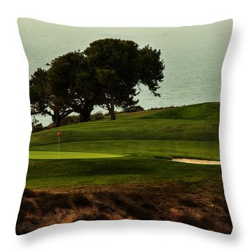 Torrey Pines Golfcourse Throw Pillow by Darleen Stry