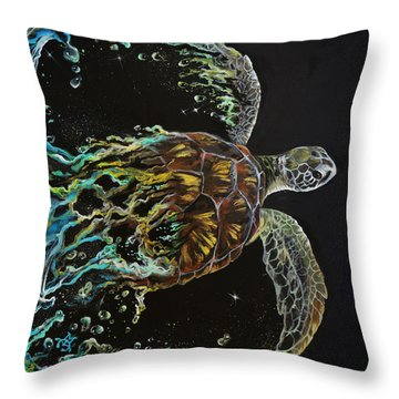 Tortuga Throw Pillow by Marco Antonio Aguilar