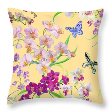 Tossed Orchids Throw Pillow by Kimberly McSparran