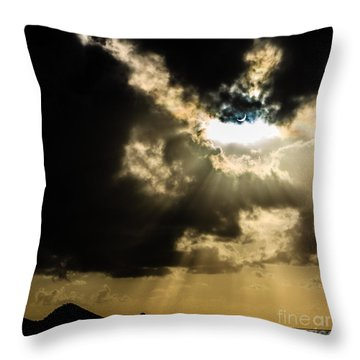 Total Solar Eclipse Breakthrough Throw Pillow by Peta Thames