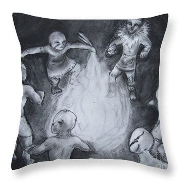 Totem Dancers - Channeling The Spirits Throw Pillow