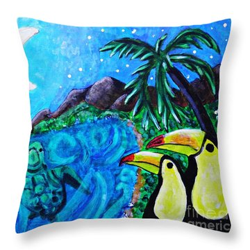 Toucan Bay Throw Pillow by Sarah Loft