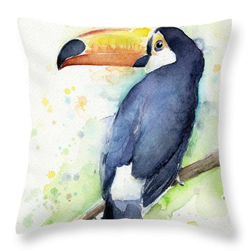 Toucan Watercolor Throw Pillow by Olga Shvartsur