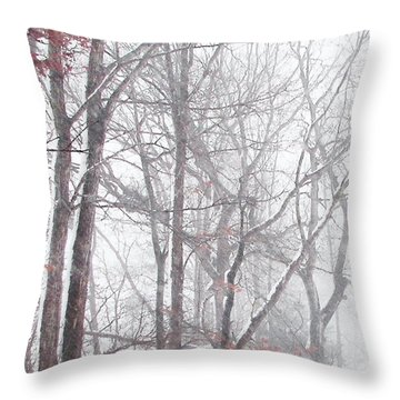 Touch Of Fall In Winter Fog Throw Pillow by Pamela Hyde Wilson