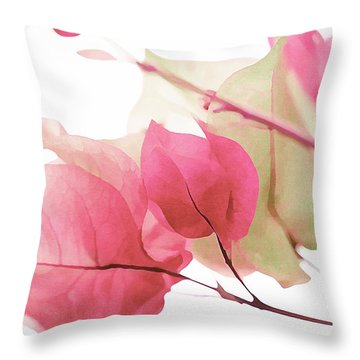 Touch Of Pink Bougainvillea Throw Pillow by Fraida Gutovich