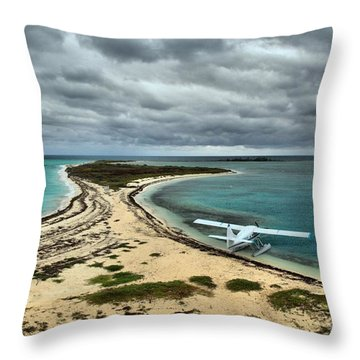 Touchdown At Tortugas Throw Pillow by Adam Jewell