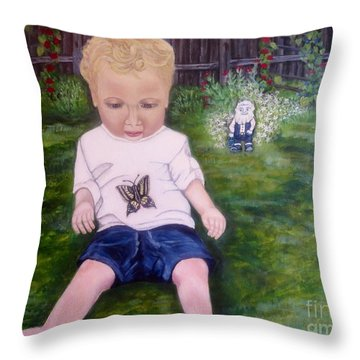 Throw Pillow featuring the painting Touched By A Butterfly Kiss by Kimberlee Baxter