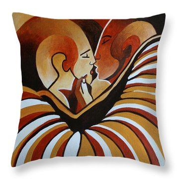 Throw Pillow featuring the painting Touched By Africa I by Tracey Harrington-Simpson