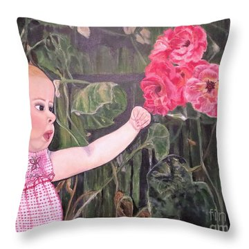 Throw Pillow featuring the painting Touched By The Roses Painting by Kimberlee Baxter