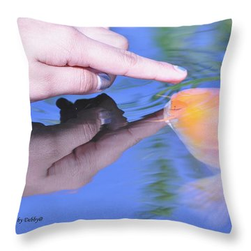 Touching The Koi.  Throw Pillow by Debby Pueschel