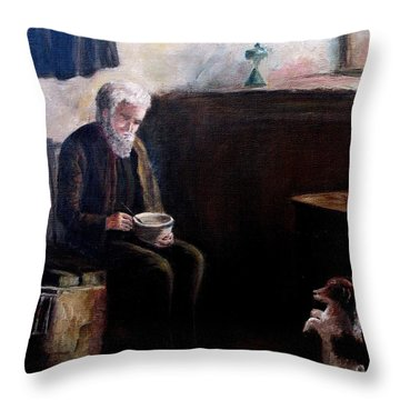 Throw Pillow featuring the painting Tough Times by Hazel Holland
