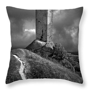 Tour De La Clauze Tower. Saugues. Haute-loire Department. Auvergne. France Throw Pillow by Bernard Jaubert