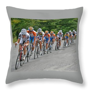 Throw Pillow featuring the photograph Tour Of Missouri Downhill 2009 by Christopher McKenzie