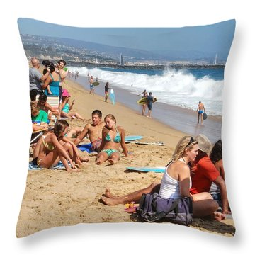 Tourist At Beach Throw Pillow