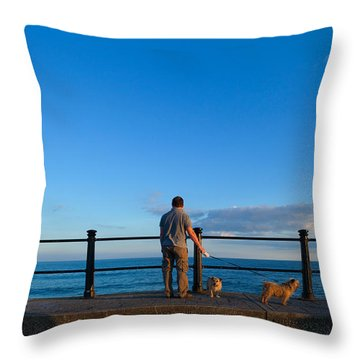 Tourist On The Promanade, Tramore Throw Pillow