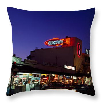 Tourists At A Restaurant, Fishermans Throw Pillow