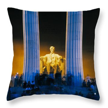 Tourists At Lincoln Memorial Throw Pillow by Panoramic Images