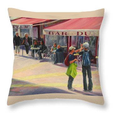 Tourists Throw Pillow by Connie Schaertl