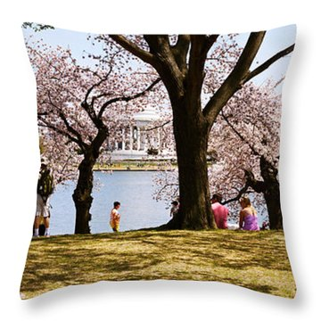 Tourists In A Park With A Memorial Throw Pillow