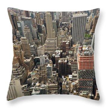 Tourists Viewing Downtown Manhattan Throw Pillow