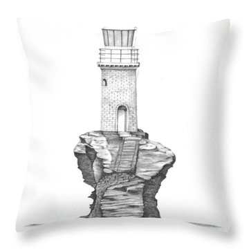 Throw Pillow featuring the drawing Tourlitis Lighthouse-greece by Patricia Hiltz