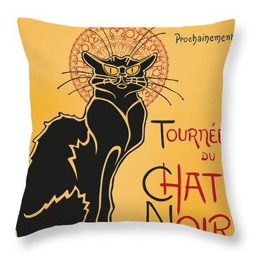 Tournee Du Chat Noir - Black Cat Tour Throw Pillow by RochVanh